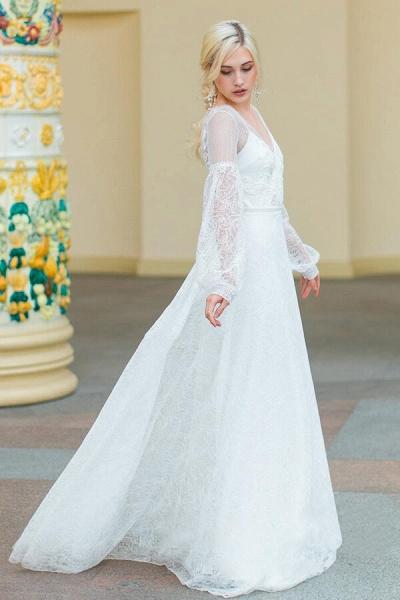 Long Sleeve V-neck Lace Tulle A-line Wedding Dress_1
