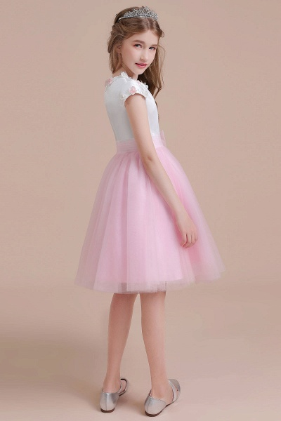 Cap Sleeve Tulle Knee Length Flower Girl Dress_7