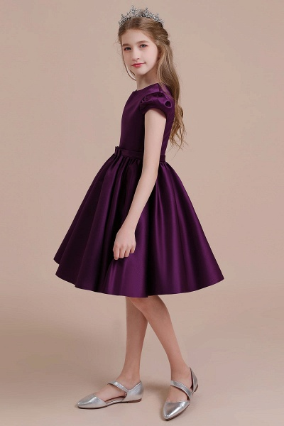 Graceful Cap Sleeve Satin A-line Flower Girl Dress_4