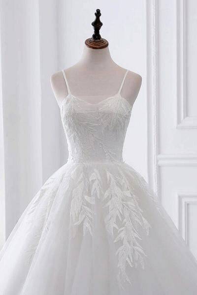 Spaghetti Strap Tulle Ball Gown Wedding Dress_5