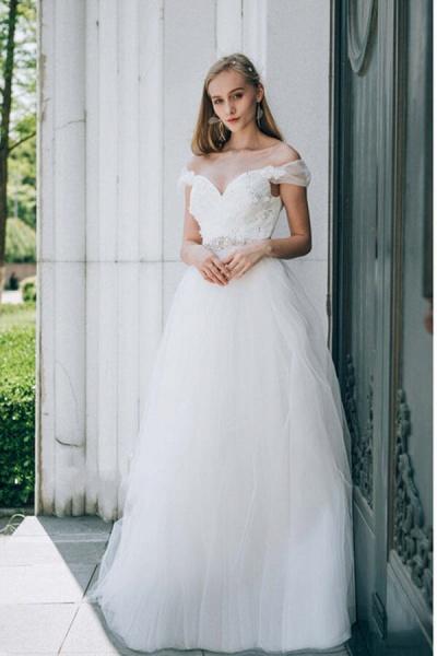 Sweetheart Beading Tulle A-line Wedding Dress_1