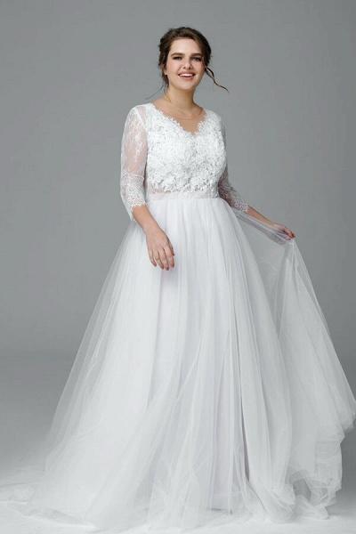 Plus Size Elegant Lace Tulle A-line Wedding Dress_2