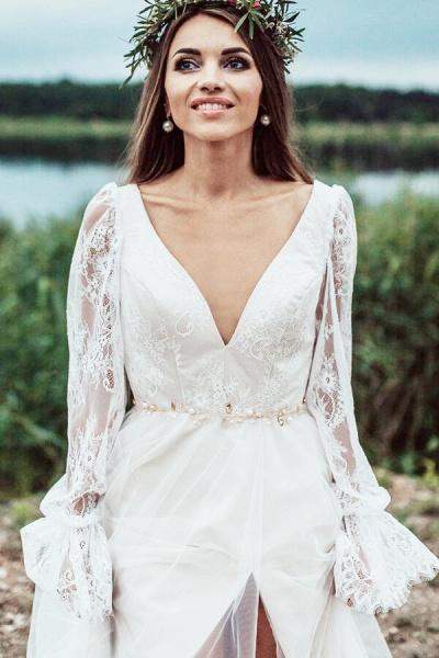 Front Slit Long Sleeve Lace Tulle Wedding Dress_8