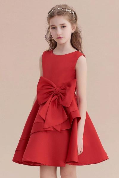 Chic Bow Satin Knee Length Flower Girl Dress_8