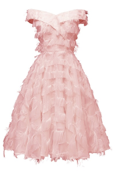 Sexy off-the-shoulder Artifical Feather Princess Vintage Homecoming Dresses | Womens Retro A-line Pink Cocktail Dress_2