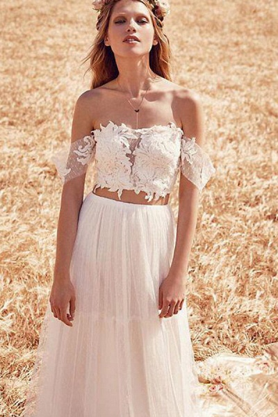 Chic Appliques Tulle Off-the-shoulder Wedding Dress_4