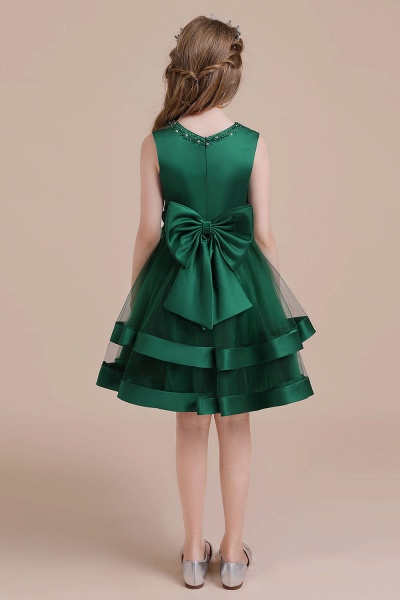 Bow A-line Satin Layered Tulle Flower Girl Dress_3