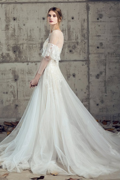 Illusion Long Sleeve Appliques Tulle Wedding Dress_3