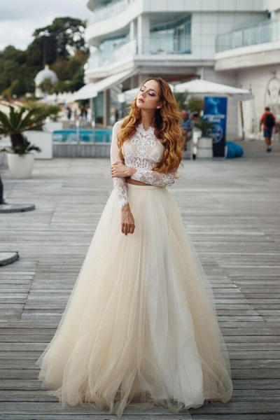 Long Sleeve Lace Tulle Two Piece Wedding Dress_5