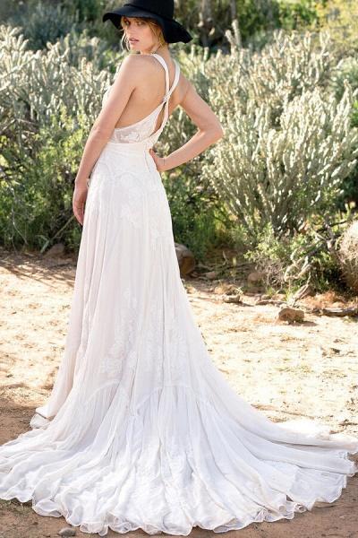 Awesome V-neck Lace Chiffon A-line Wedding Dress_3