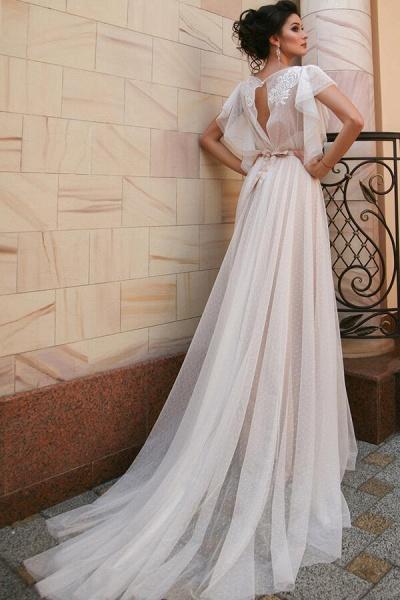 Short Sleeve Appliques Tulle A-line Wedding Dress_3