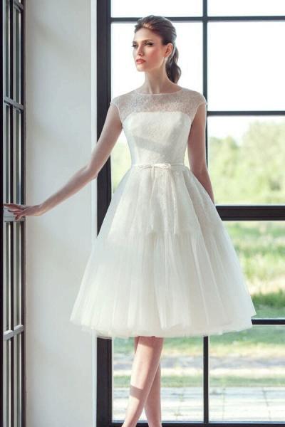 Graceful Lace Tulle Knee Length Wedding Dress_1