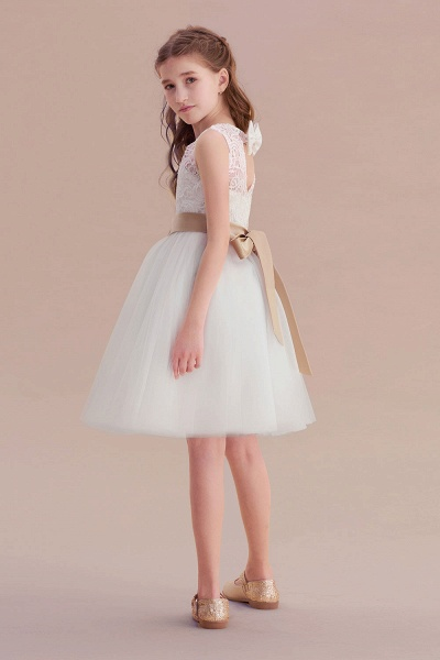Bow Tulle Lace Knee Length A-line Flower Girl Dress_7