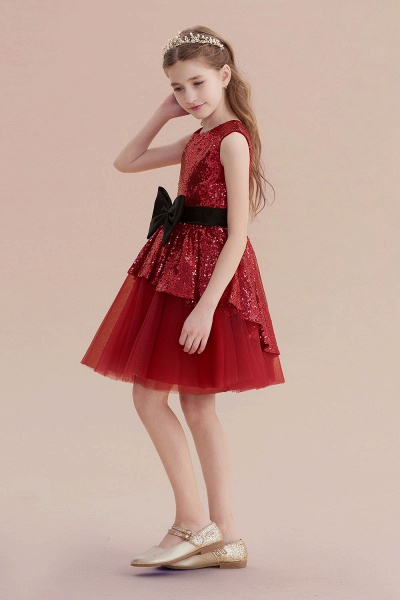 Bows Sequins Tulle A-line Flower Girl Dress_3