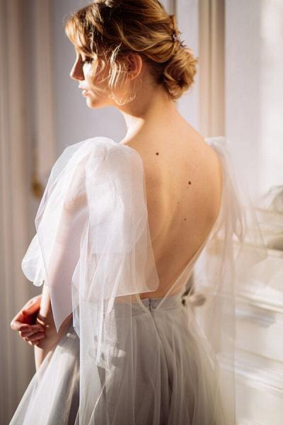 Amazing Tulle Chapel Train Wedding Dress_5