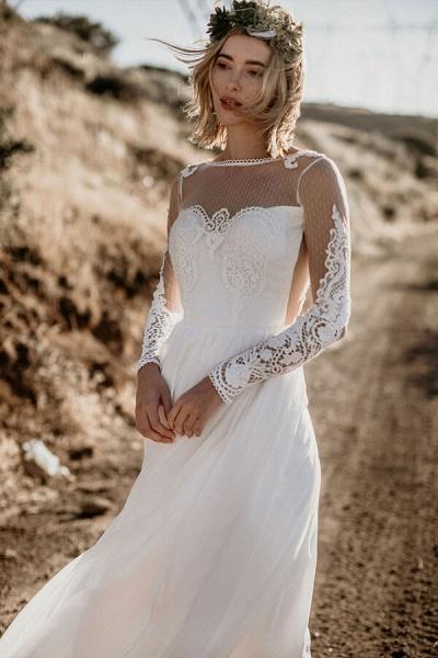 Open Back Long Sleeve Chiffon A-line Wedding Dress_5