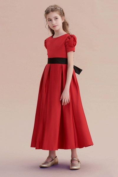 Awesome Short Sleeve A-line Satin Flower Girl Dress_4