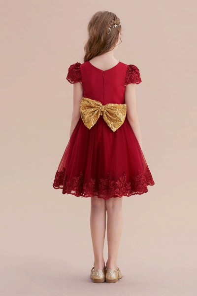 Cap Sleeve Bow Knee Length A-line Flower Girl Dress_3
