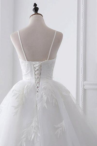 Spaghetti Strap Tulle Ball Gown Wedding Dress_6