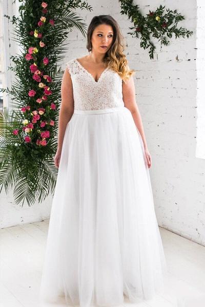Plus Size V-neck Lace Tulle A-line Wedding Dress_4