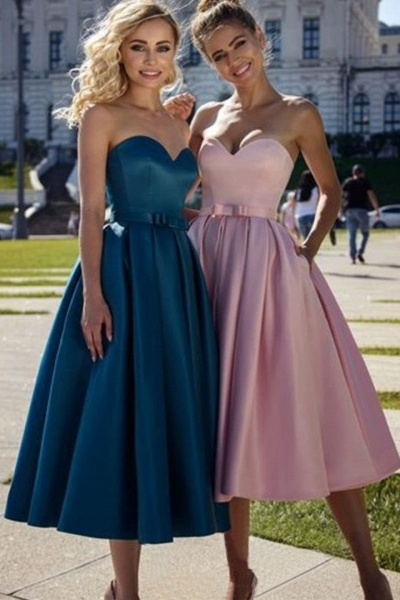 Best Sweetheart Stretch Satin A-line Evening Dress_1