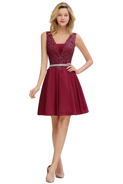 Cute Deep V-neck Short Homecoming Dress with Beaded Belt_2