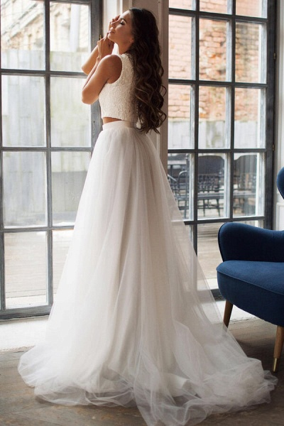 Awesome Lace Tulle Two Piece Wedding Dress_3