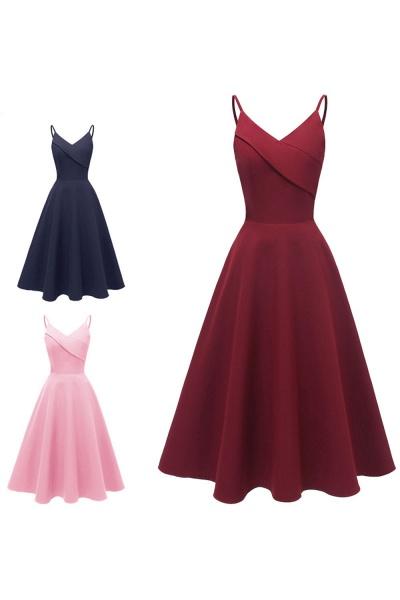 Trendy Spaghetti Straps Sleeveless Princess Vintage Dresses | Womens Retro V-neck Burgundy Cocktail Dress_16
