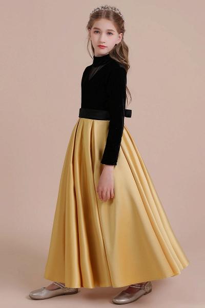 High-neck Velvet Satin A-line Flower Girl Dress_7