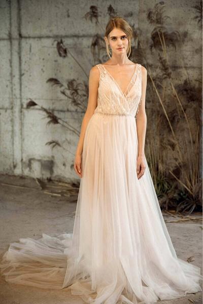 Awesome V-neck Tulle Chapel Train Wedding Dress_4