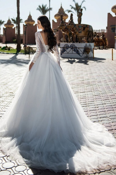 Lace-up Long Sleeve Tulle Ball Gown Wedding Dress_3