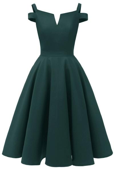 Sexy Cap Sleeves Princess Vintage Dresses with Straps | Womens Retro V-neck Emerald Cocktail Dress_4