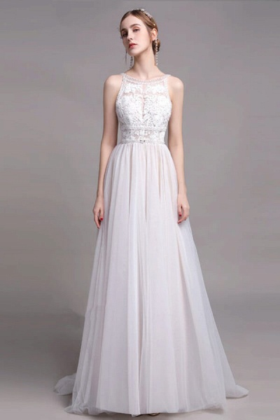 Best Lace Tulle Floor Length A-line Wedding Dress_1