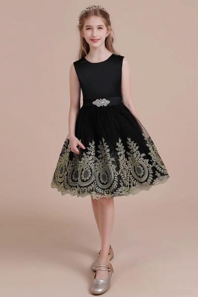 Appliques Satin Tulle A-line Flower Girl Dress_5