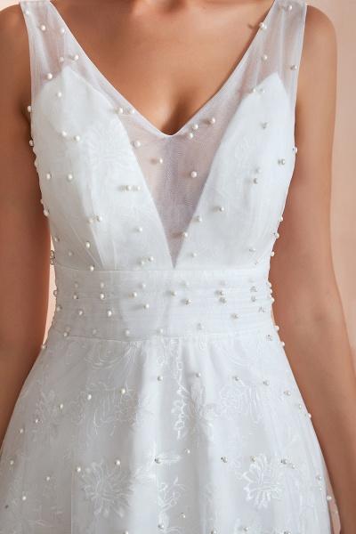 Graceful V-neck Pearl Tulle A-line Wedding Dress_9