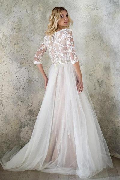 Best V-neck Floor Length Tulle Sheath Wedding Dress_3