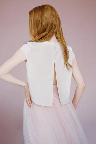Latest Short Sleeve Tulle Two Piece Wedding Dress_6