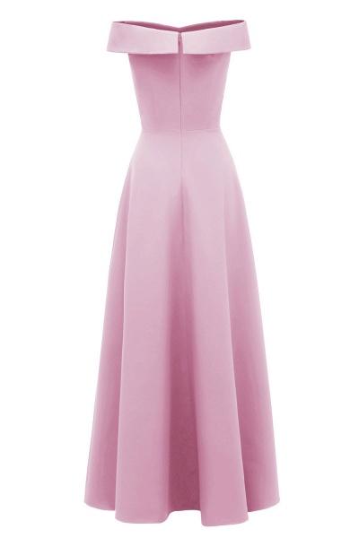 Women Simple Off-the-shoulder Bridesmaid Party Dress Long Burgundy Dress_11