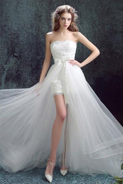Amazing Sweetheart Tulle Chapel Train Wedding Dress_1