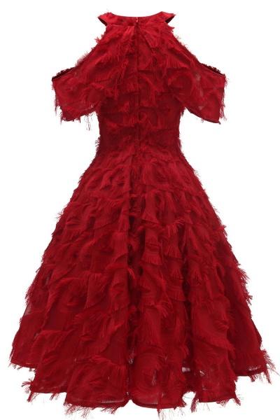 Elegant High neck Artifical Feather A-line Vintage Cocktail Dresses | Retro A-line Burgundy Homecoming Dress_12