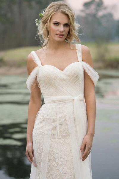 Best Cold-shoulder Lace Tulle Sheath Wedding Dress_4