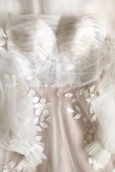 Graceful Long Sleeve A-line Tulle Wedding Dress_2