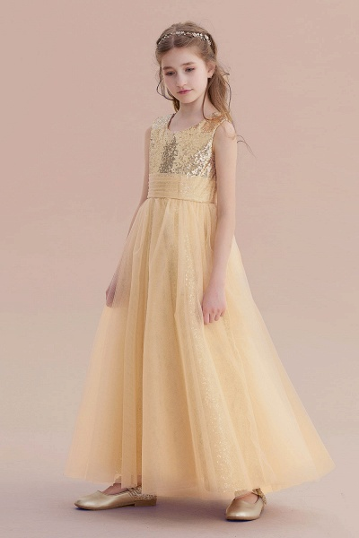 Awesome Sequins Tulle Flower Girl Dress_5