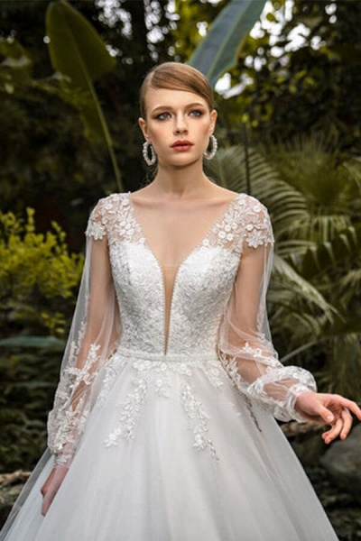Appliques Long Sleeve Tulle Ball Gown Wedding Dress_4