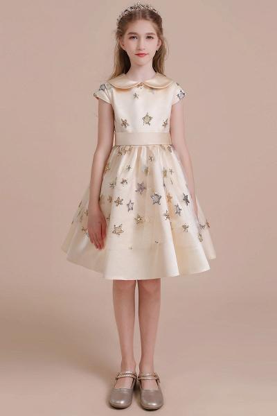 Cap Sleeve Star Sequins Tulle Flower Girl Dress_1