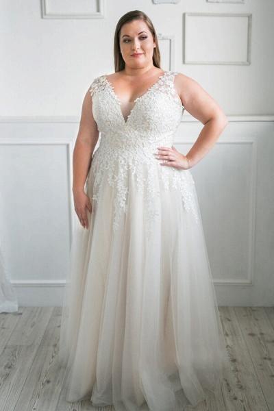 Plus Size V-neck Tulle A-line Wedding Dress_1