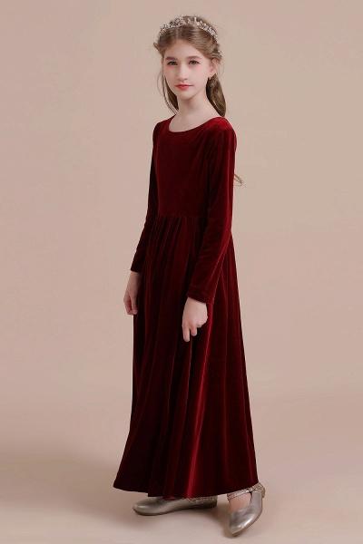 Long Sleeve A-line Velvet Flower Girl Dress_5