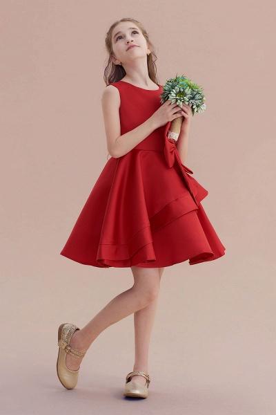 Chic Bow Satin Knee Length Flower Girl Dress_5