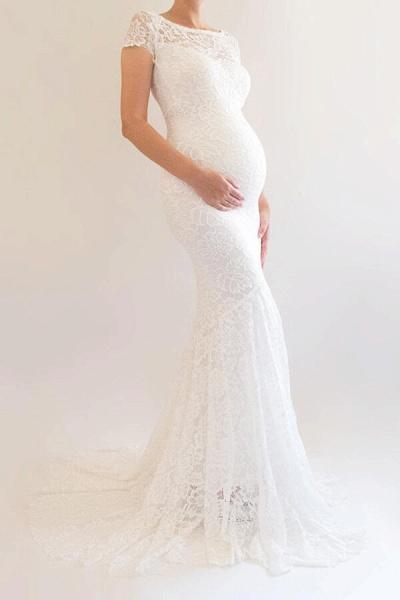 Elegant Short Sleeve Lace Mermaid Wedding Dress_3
