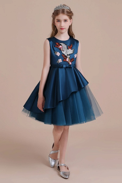 Embroidered Satin Tulle A-line Flower Girl Dress_5